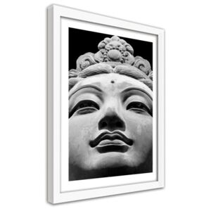 CARO Imagine în cadru - Oriental Statue In Black And White Alb 30x40 cm