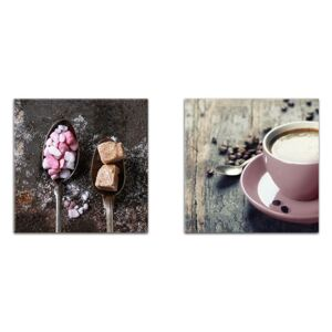 Styler Tablou pe sticlă - Sugar And Pink Coffee Sugar and Pink Coffee - set 2 x30x30 cm