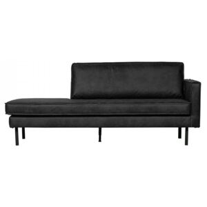 Pat de zi negru din piele si poliester 203 cm Rodeo Daybed Right Be Pure Home