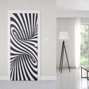 GLIX Tapet netesute pe usă - Modern 3D Optical Illusion Design Black And White
