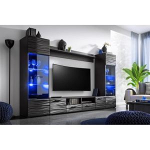 Set mobila living MODICA, MDF negru cosmic, ILUMINARE LED INCLUSA, 260x150x41 cm