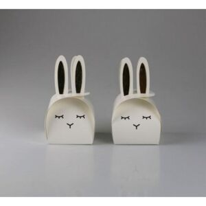 Set 2 cutii decorative BUNNY BOX 13 x 19 cm - Alb