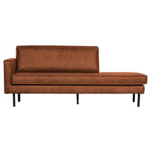 Pat de zi maro coniac din piele si poliester 203 cm Rodeo Daybed Left Be Pure Home