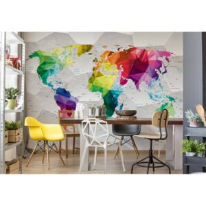 GLIX Fototapet - Modern 3D Colourful World Map Papírová tapeta - 368x280 cm