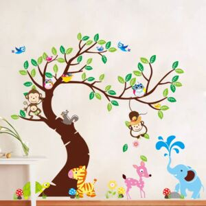 Set autocolante pentru perete Ambiance Tree, Monkeys and Elephant