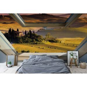 GLIX Fototapet - Tuscan Countryside 3D Skylight Window View Papírová tapeta - 368x280 cm