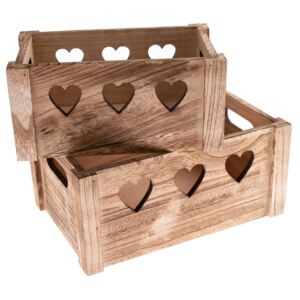 Set de cutii decorative din lemn Hearts 2 buc natural