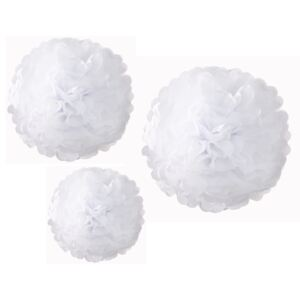 Set 3 decorațiuni de hârtie Talking Tables Pom Poms White
