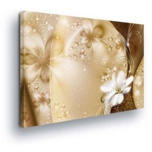 GLIX Tablou - Abstract Gold and White Flowers 100x75 cm