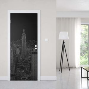 GLIX Tapet netesute pe usă - Black Modern New York Skyline