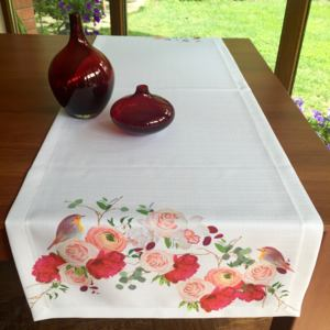 Napron Rose with Bird 45 x 140 cm