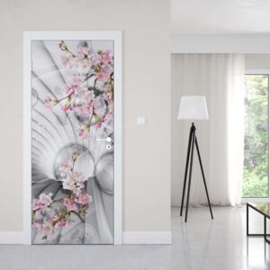 Tapet GLIX - Modern 3D Flowers And Bubbles Tunnel View1 | 91x211 cm