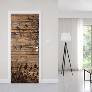 Tapet GLIX - Rustic Birds And Tree Silhouette Wood Plank Texture1   91x211 cm