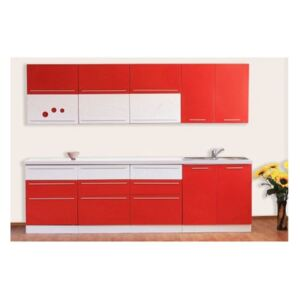 Set Bucatarie RED PASSION MDF 2.6, 260x60x200cm, Alb + Rosu