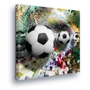 Tablou GLIX - Colorful Puzzle with Soccer Ball 80x80 cm