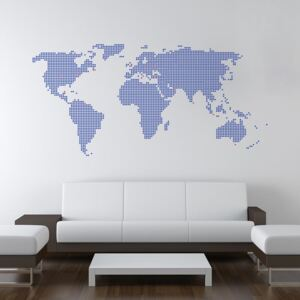 GLIX World map from dots - autocolant de perete Albastru 200 x 100 cm