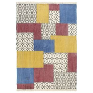 Covor Kilim țesut manual, multicolor, 120 x 180 cm, bumbac