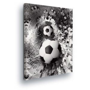 GLIX Tablou - Puzzle with Soccer Ball 2 x 40x60 / 2 x 30x80 / 1 x 30x100 cm