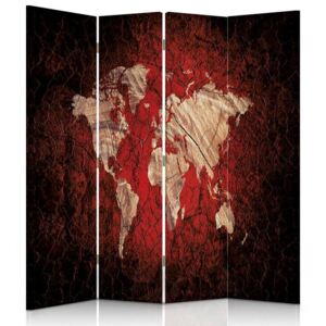CARO Paravan - Rustic Map Of The World | cvadripartit | unilateral 145x150 cm
