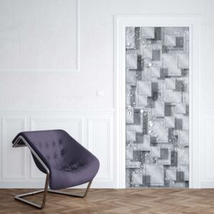 GLIX Tapet netesute pe usă - Abstract 3D Design Squares Grey