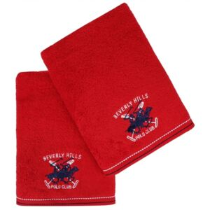 Set Prosoape De Maini Beverly Hills Polo Club Red, 100% bumbac, 2 bucati, rosu, 50x90 cm
