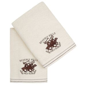 Set Prosoape De Maini Beverly Hills Polo Club Cream, 100% bumbac, 2 bucati, crem, 50x90 cm