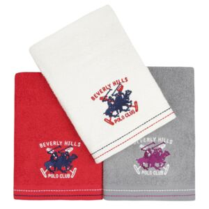 Set Prosoape De Maini Beverly Hills Polo Club Red Grey White, 100% bumbac, 3 bucati, rosu, gri, alb, 50x90 cm