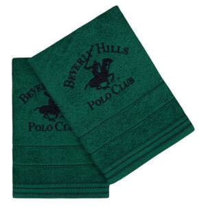 Set Prosoape De Maini Beverly Hills Polo Club Green, 100% bumbac, 2 bucati, verde, 50x90 cm