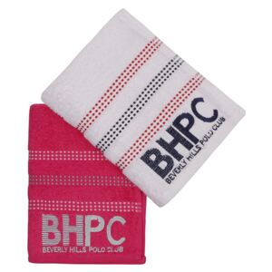 Set Prosoape De Maini Beverly Hills Polo Club Red Stripes, 100% bumbac, 2 bucati, alb, rosu, 50x90 cm