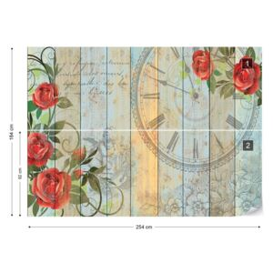 Fototapet GLIX - Clock And Roses Vintage Painted Wood And Floral Papírová tapeta - 254x184 cm