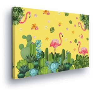 GLIX Tablou - Tropical Decoration with Flamingos 60x40 cm
