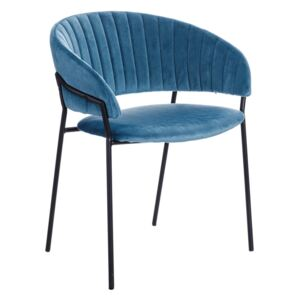 Scaun dining albastru din textil Chair Blue Fabric