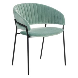Scaun dining verde din textil Chair Green Fabric