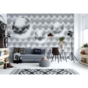 Fototapet GLIX - 3D Grey And White Design + adeziv GRATUIT Tapet nețesute - 416x254 cm