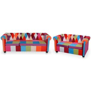 Set canapea Chesterfield, 2 piese, material textil