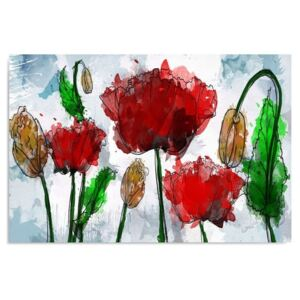 Tablou CARO - Red Poppies 50x40 cm