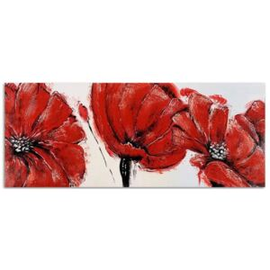 Tablou CARO - Red Flowers - Panorama 50x20 cm