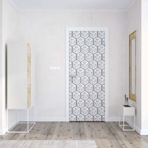 GLIX Tapet netesute pe usă - Modern 3D White And Grey Cube Pattern