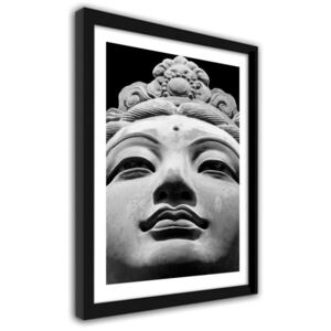 CARO Imagine în cadru - Oriental Statue In Black And White Negru 30x40 cm