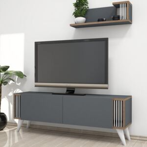 Set comoda TV si corp cu rafturi Negro 1200x310x420 mm