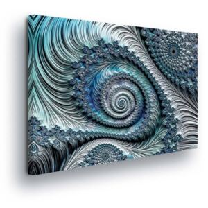 GLIX Tablou - Abstract Swirl in Blue Tones 45x145 cm