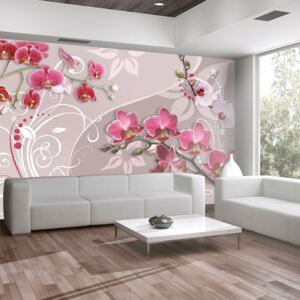 Bimago Fototapet - Flight of pink orchids 100x70 cm