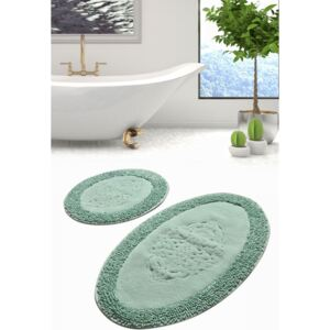 Set 2 covorase baie bumbac, Alessia Home, Piante Oval - Verde menta