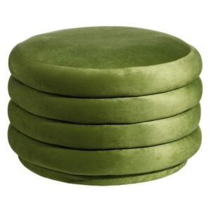 Puf din catifea verde Green Velvet Wood/Fabric