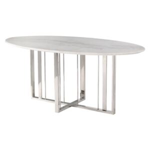 Masa dining de marmura Fenty Dining Table Polished Stainless Steel