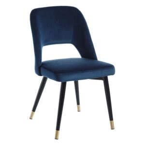 Scaun dining din catifea albastra Chair Blue Fabric-Metal