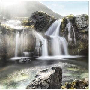 Tablou sticla Black & White Waterfall 80x80 cm
