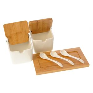 Set recipiente portelan si bambus