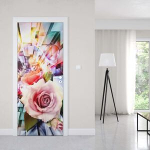 GLIX Tapet netesute pe usă - Roses 3D Illustion Modern Multicoloured Design