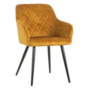 Scaun dining din textil galben Ocre Fabric Chair